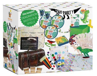 Kinder-Geburtstag Dinosaurier Party-Box komplett Spiele Deko für 6-10 Kinder