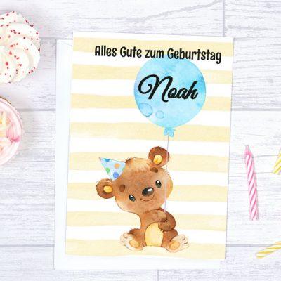 A5 Geburtstagskarte Bärchen mit Luftballon blau mit Wunschnamen zum Sofort-Download