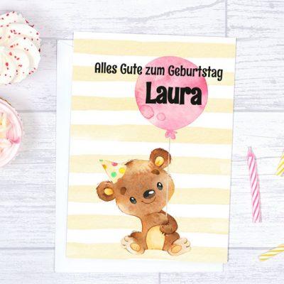 A5 Geburtstagskarte Teddy Bärchen mit Luftballon rosa mit Wunschnamen zum Sofort-Download