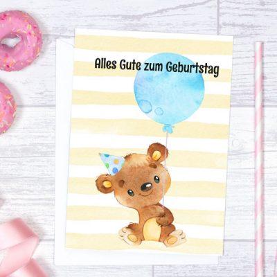 Geburtstagskarte A5 Teddy-Bär mit Luftballon blau zum Sofort-Download