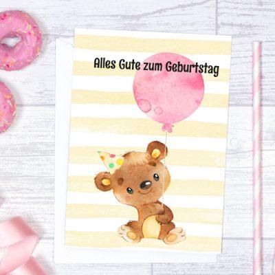 Geburtstagskarte A5 Teddy-Bär mit Luftballon rosa zum Sofort-Download