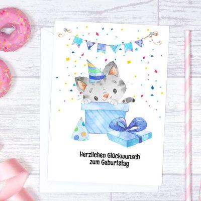 Geburtstagskarte A5 Katze im Karton blau zum Sofort-Download
