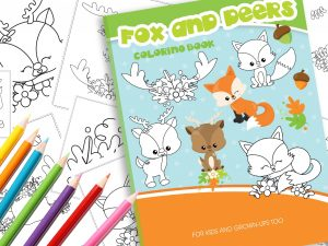 Malbuch Waldtiere Fuchs und Reh