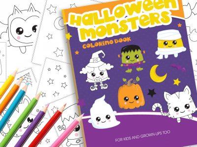 Malbuch süße Kawaii Halloween Monster