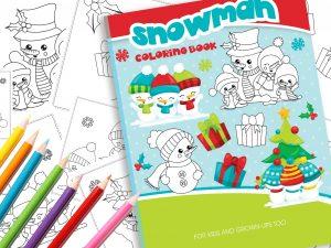Malbuch Weihnachten Schneemann